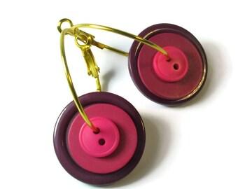 Plum Earrings, Purple Earrings, Hoop, Repurposed Button Jewelry, Upcycled