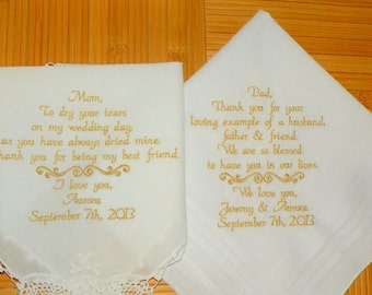 Wedding Gift, Embroidered Wedding Hankerchiefs, Mother & Father of the Bride, by Canyon Embroidery