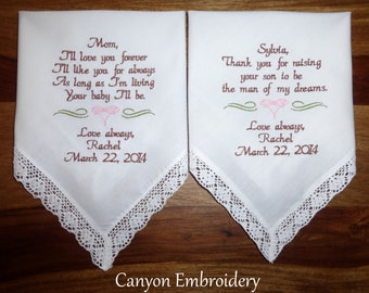 Embroidered Wedding Handkerchiefs, Wedding Gift, Mother of the Bride & Mother of the Groom, Personalized, Custom, Canyon Embroidery
