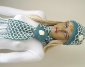Winter Fashion - Teal Green Scarf and Hat - GIFT FOR HER - Ready to Ship - Wrap Warm Green and Cream Winter Accessories