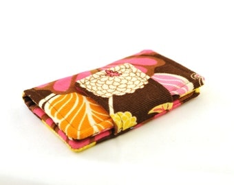 Fabric Wallet and Business Card Case - Mini Wallet - Pink and Yellow Flower Corduroy