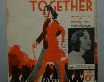 """1940's Sheet Music, """"Marching Along Together"""", WWII Patriotic American Song, Wonderful Vintage Graphic of Guy and Gal, Vintage Wedding"""