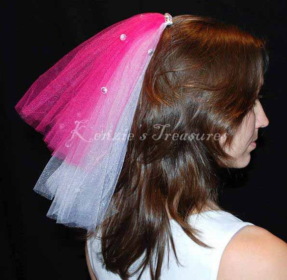 Create Your Own 2 Color Layer Wedding or Bachelorette Party Veil Clip With Rhinestones