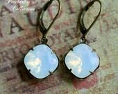 Cushion Cut White Opal Earrings, Swarovski Crystal Earrings, Estate Style Earrings, Moonstone, Opal Earrings