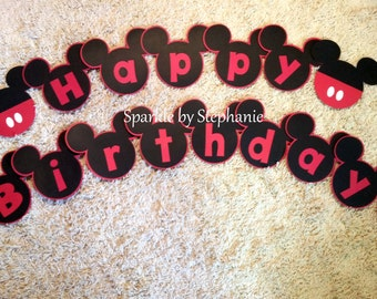 Mickey Mouse Banner - Happy Birthday - Personalized additions available