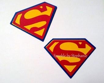 """Superman Cut Outs 2.5"""" l Superman Sheild Party Decoration l  Superman Birthday l Superhero Birthday Party l Superman Baby Shower l Set of 12"""
