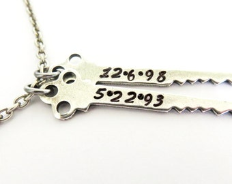 Custom Date Key Necklace- Mother's Necklace- Sterling Silver Finish Key Necklace- HANDSTAMPED