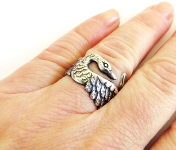 Steampunk Swan Ring- Sterling Silver Ox Finish
