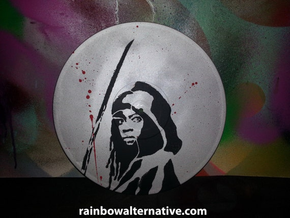 Michonne Painting On Vinyl Record Stencil Spray Paint The