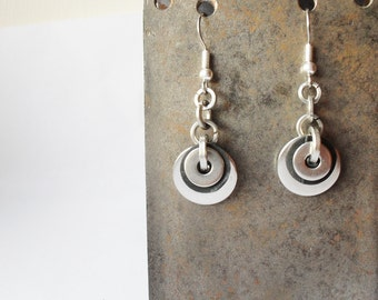 Eco Earrings - Stainless Steel Washers with Recycled Black Bicycle Inner Tube Rubber, Valentines Gift