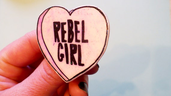 Rebel Girl Heart Brooch, Feminist Riot Grrrl Pin