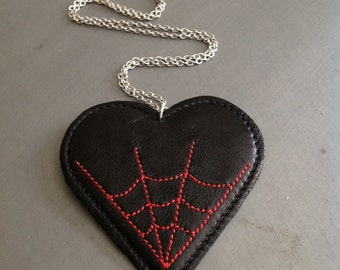 Spiderweb Necklace, Leather Necklace, Heart Necklace, Horror Necklace