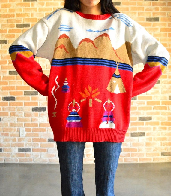 80s native american themed sweater-cute novelty pullover-fun indian scene-rad cotton knit- oversized small S medium M
