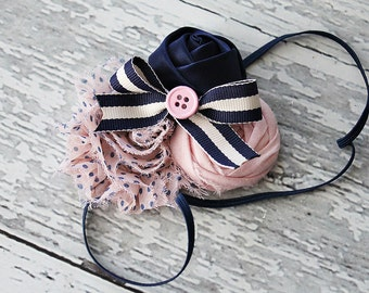 Pink Preppy and Nautical- light pink and navy bow rosette and chiffon flower headband