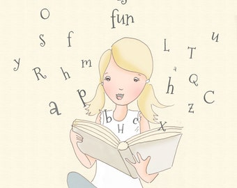 Children's Wall Art -- READ - Print - Reading quotes for Kids