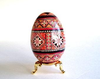 Red Christmas Pysanka on goose Eggs, Ukrainian Easter egg pysanka