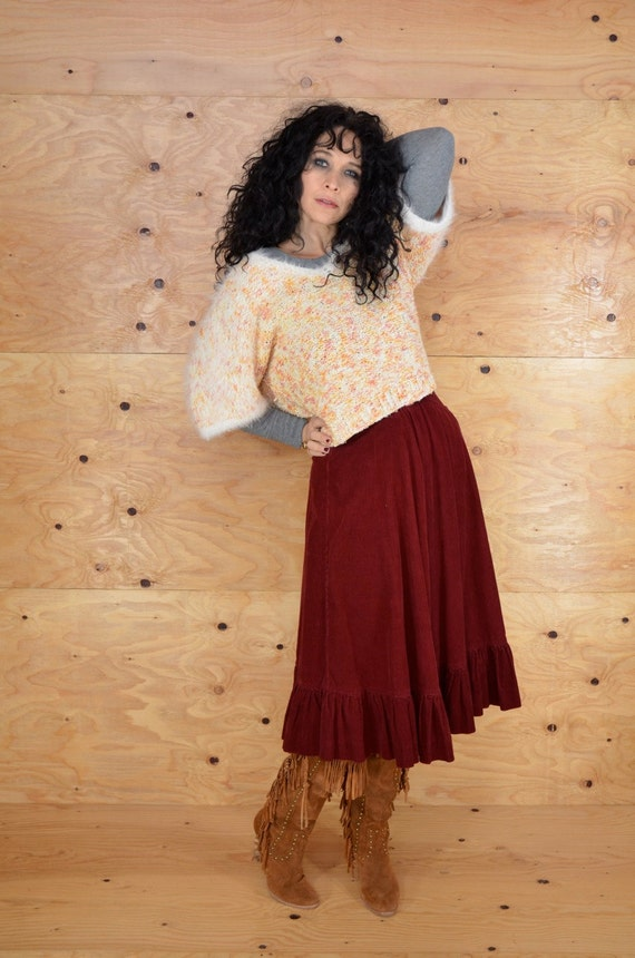 Vintage 70s Skirt Burgundy Maroon Cord High Waisted A-Line Size Small