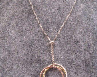 Silver Circle Necklace, Silver Hoop Infinity, Rose Gold Circle Necklace, Multi Color Silver Circle Necklace, Sterling Silver Eternity Circle