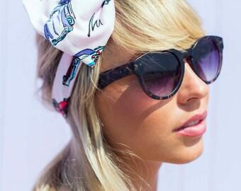 Pink Retro American Car 1950s Bow Headband, Oversized Bow Headband, Dolly Bow, Rockabilly Pin Up Girl Headband, Huge Bow Headband