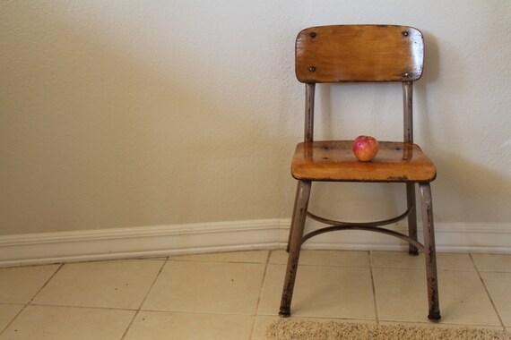 vintage metal wood school chair