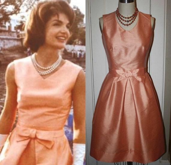 Jackie O Kennedy- Peachy Bow Dress- 1960s 60s Wedding Guest Dress Custom Made to Order