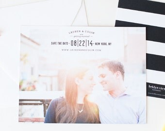 SAVE THE DATE Black and White Striped Cards from the Brklyn View Collection - Flat Printed Save the Date Cards by Sincerely, Jackie
