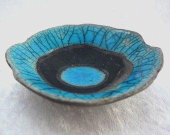 Ceramic Rockpool Bowl in Turquoise/Copper and Black Raku