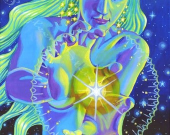 Star Goddess - Large Fine Art Gicle e, Cosmic, Galaxy, Space, Astrega ...