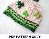 Knit Hat Knitting Pattern - St Patricks Day Hat Pattern - the PATRICK Hat (Newborn Baby thru Adult sizes incl'd)