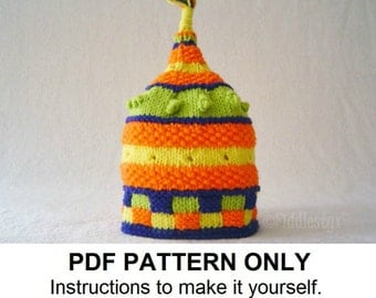 Hat Knitting Pattern - Birthday Hat Pattern - the BARNUM Hat (Newborn, Baby, Toddler, Child & Adult sizes incl'd)