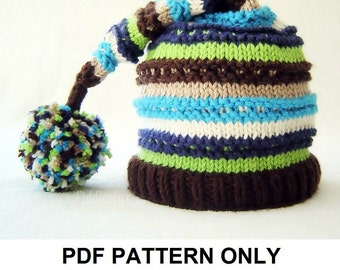 Knitting Pattern - Boys Hat Pattern - Stocking Hat Pattern - the LINUS Hat (Newborn, Baby, Toddler, Child & Adult sizes incl'd)
