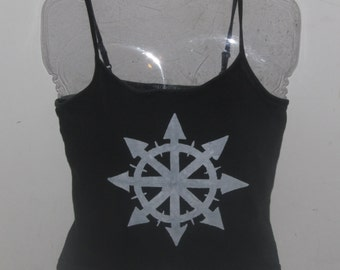 Chaos Shirt - White on Black Fitted Tank, Small or XS - anarchist symbol, anarchy singlet magic unisex women punk anarchist arrows short