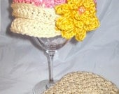 Tweed-look Crochet Baby newsboy brimmed cap flower beanie girls flower hat cloche baby cap photo prop