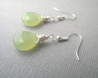 Jade Earrings, Seafoam Green Earrings, Small Drop Earrings, Jade Stone Jewelry