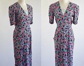 Vintage Grunge Dress -- 80s 90s Floral Dress -- Lace Short Sleeve Dress --Small