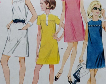 Vintage Teen Sewing Pattern, 60s Juniors Dress, Mccalls 9296, 1960s Sewing Patttern, 60s Dress Sewing Pattern, Juniors Sewing, Bust 29