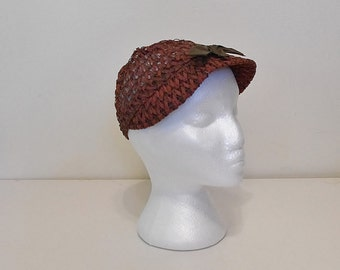 Vintage 50s 60s Hat -- Brown Raffia Short Brim Hat