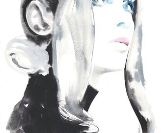 Original Watercolor Fashion Illustration, Jean Shrimpton, Watercolor Fashion Illustration 1969 Vogue by Cate Parr
