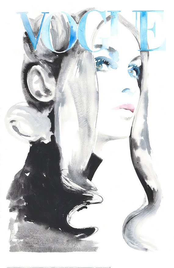 Art original watercolor fashion illustration jean shrimpton fashion