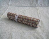 Knitting Needle Roll- Rustic Hearts with Blue Interior