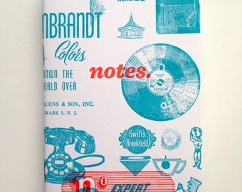 Letterpress Pocket Notebook - Vintage Advertising Cuts