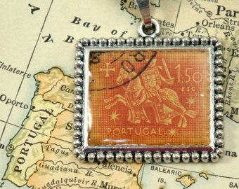 Vintage Portugal Canceled Postage Stamp Pendant Necklace Key Ring - Knight on Horse