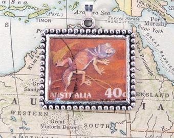 Vintage Australia Gecko Postage Stamp Necklace Pendant Key Ring