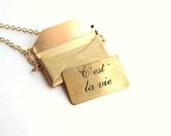 c'est la vie envelope locket necklace - french cursive text