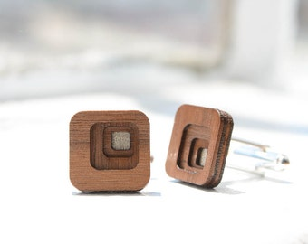 Cuff Links : Four Layer Concentric Squares in Walnut Wood - for the Stylish Man, Groom, Groomsmen, Father, or 5-Year Anniversary Gift