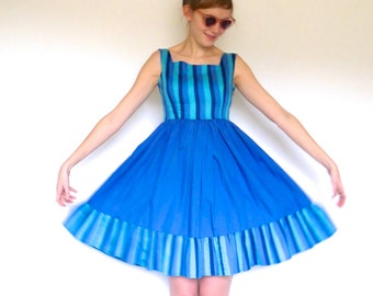 S A L E // 50s Multi Blue Stripe Full Dress xxs xs s
