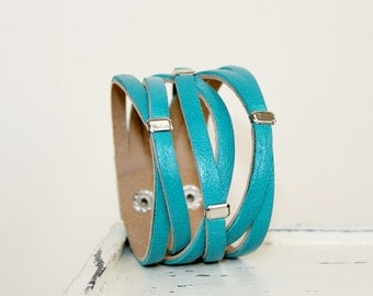 Braided  Teal Genuine Leather Bracelet ,Turquoise Leather Cuff