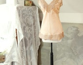 vintage 1940s . silk and lace camisole . chemise . pale peach . pink . delicate romance .