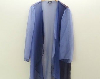 90s Sheer Blue Ombre Gradient Slouchy Jacket