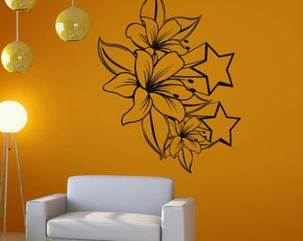Vinyl Wall Decal Sticker Tiger Lilies and Stars 1264m